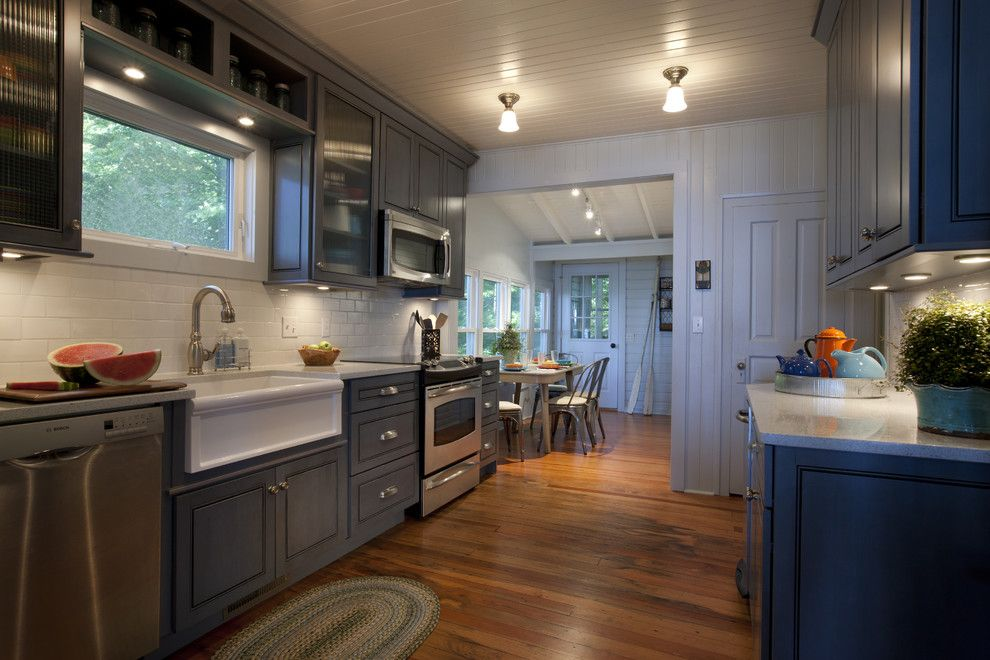 Homedepotess for a Traditional Kitchen with a White Subway Tile and Lake Cottage Kitchen by Michael Abrams Limited