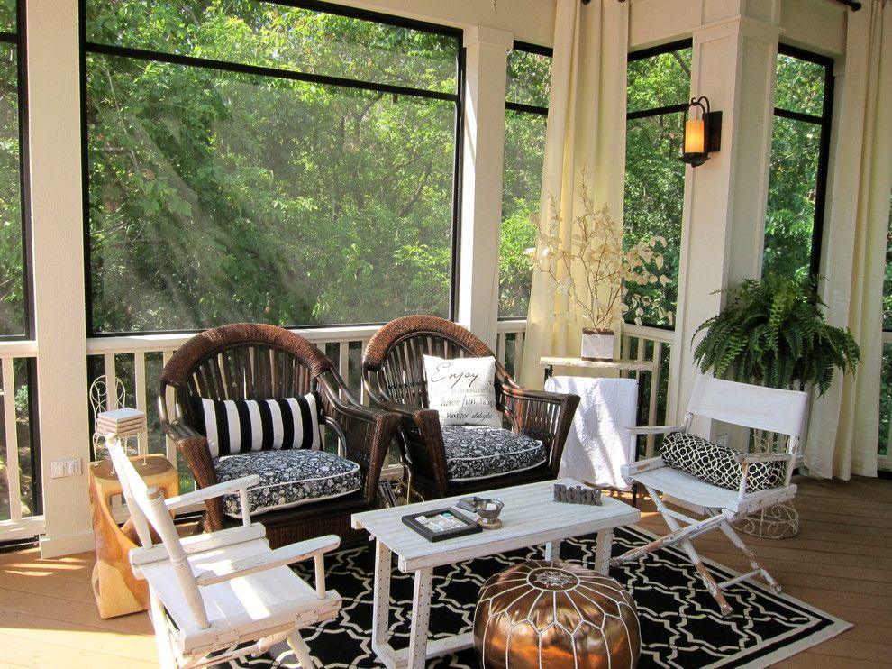 Homedepotess for a Traditional Porch with a Stripe and Screened Porch Sanctuary by Your Favorite Room by Cathy Zaeske