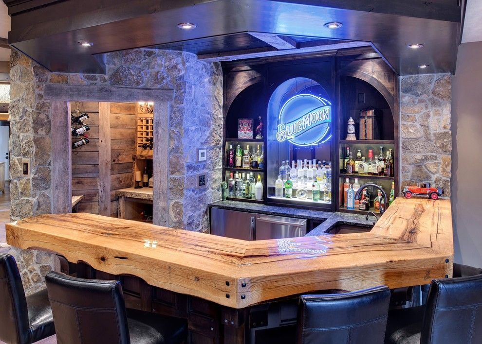 Homesmart Realty for a Traditional Home Bar with a Liquor Storage and Rustic Bar & Wine Room by Divine Custom Homes