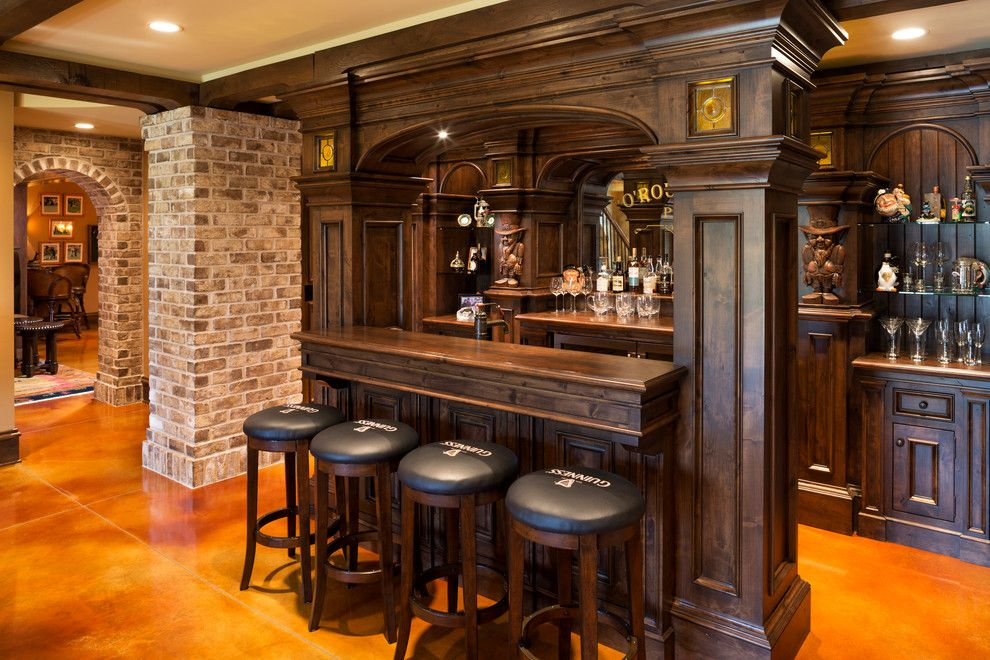 Homesmart Realty for a Traditional Home Bar with a Tile Floor and Elegant English Country Home by Kyle Hunt & Partners, Incorporated