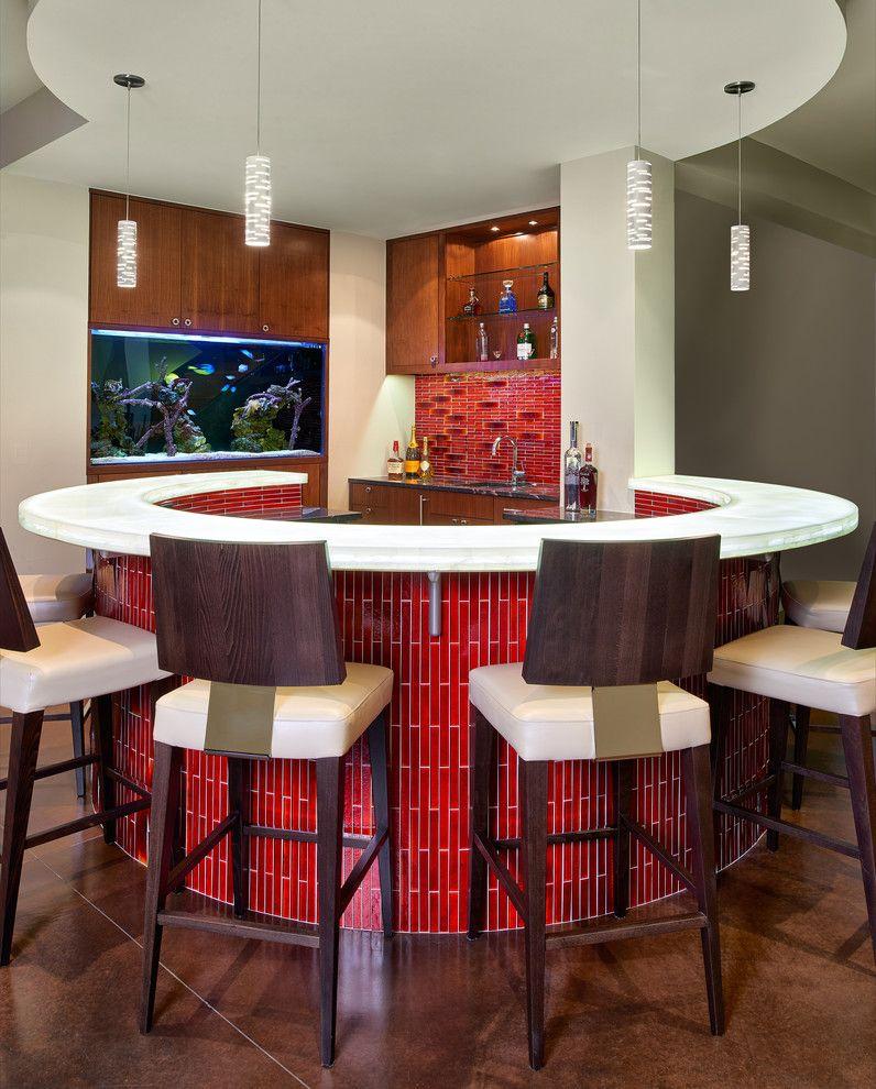 Hometeam Properties for a Contemporary Home Bar with a Curved Bar and Contemporary Home Bar by Kgarch.com