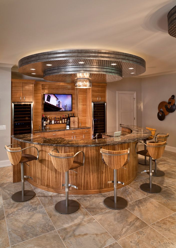 Hometeam Properties for a Contemporary Home Bar with a Drop Ceiling and Blome Road by Don Justice Cabinet Makers by Don Justice Cabinet Makers