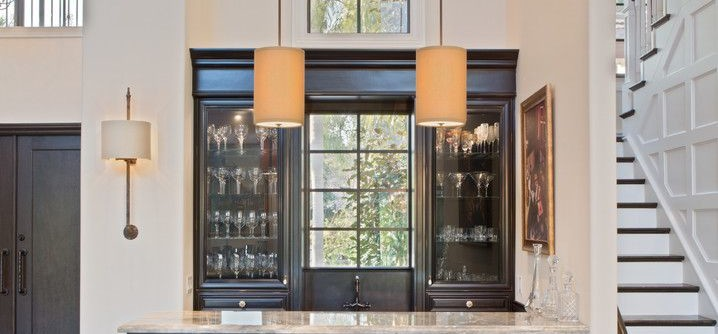 Hometeam Properties for a Transitional Home Bar with a Glass Shelves and Hamptons Woodfield Country Club Addition and Remodel by NMB Custom Homes and Renovations, LLC