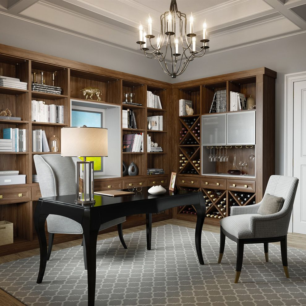 Hometeam Properties for a Transitional Home Office with a Gray Area Rug and California Closets by California Closets Hq