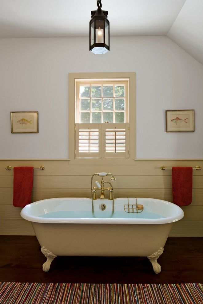 Hooks Chicken and Fish for a Farmhouse Bathroom with a Spa Bath and Guest Bathroom by Haver & Skolnick Llc Architects