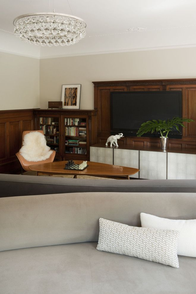Hooks Chicken and Fish for a Modern Family Room with a Wainscot and Prospect Park West by David Howell Design