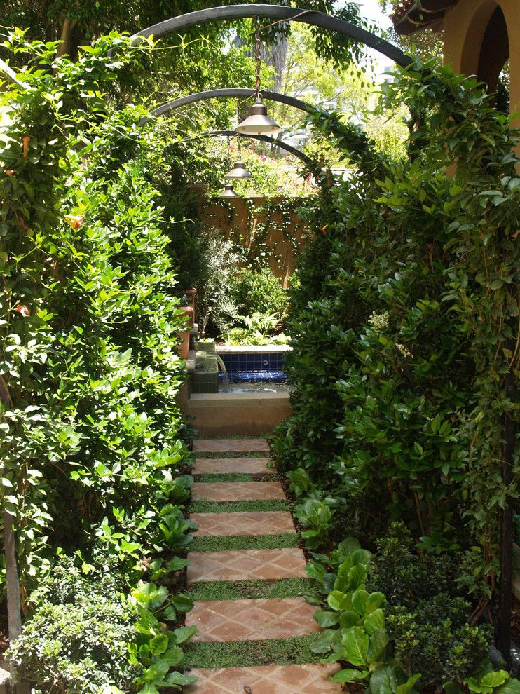 Hop Trellis for a Mediterranean Landscape with a Custom Malibu Tile Xfountain Xlions Head Xwater Feature and Los Angeles Residence by Integration Design Studio, Landscape Architects