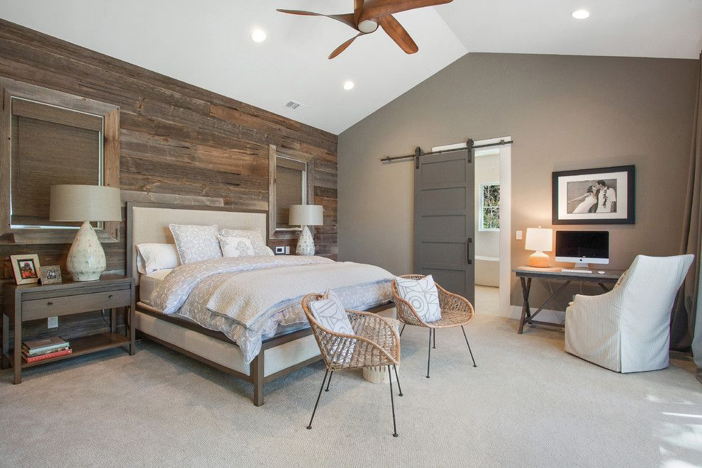 Horizon Retail Construction for a Farmhouse Bedroom with a Sliding Barn Door Hardware and Alamo, Ca. Farmhouse. Full Service Design Firm. Master Bedroom. by Lmk Interiors