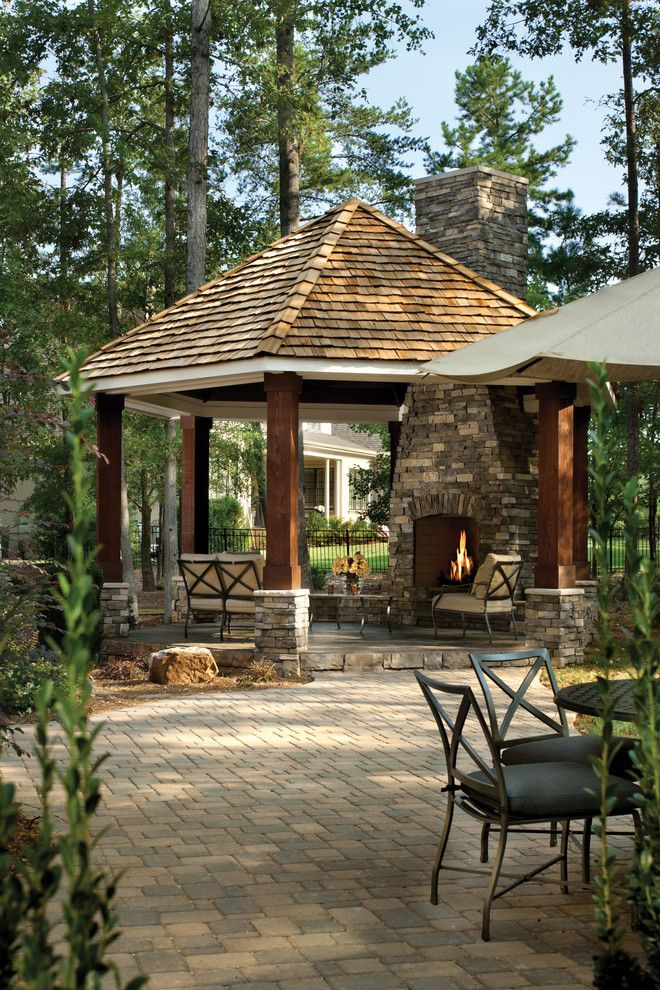 Hot Springs Spa Nc for a Traditional Patio with a Stacked Stone Chimney and Asheville 1131 by Arthur Rutenberg Homes