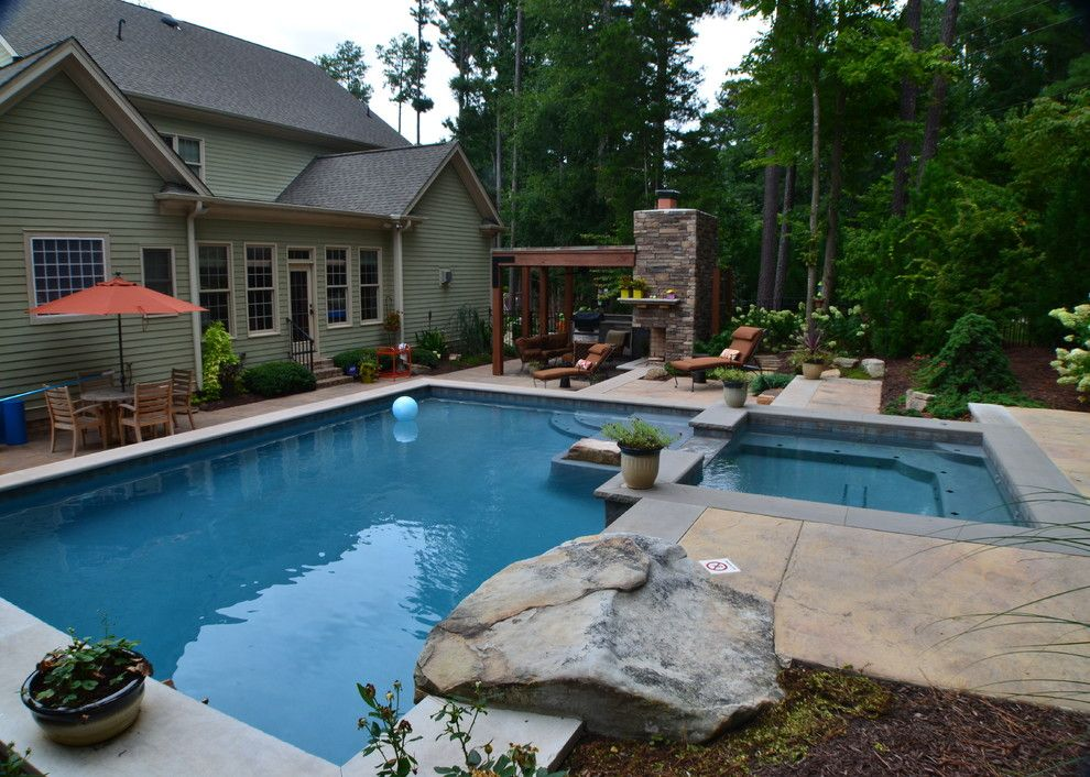 Hot Springs Spa Nc for a Traditional Pool with a Covered Patio and Raleigh Outdoor Living by the Pool by Down to Earth Designs, Inc.