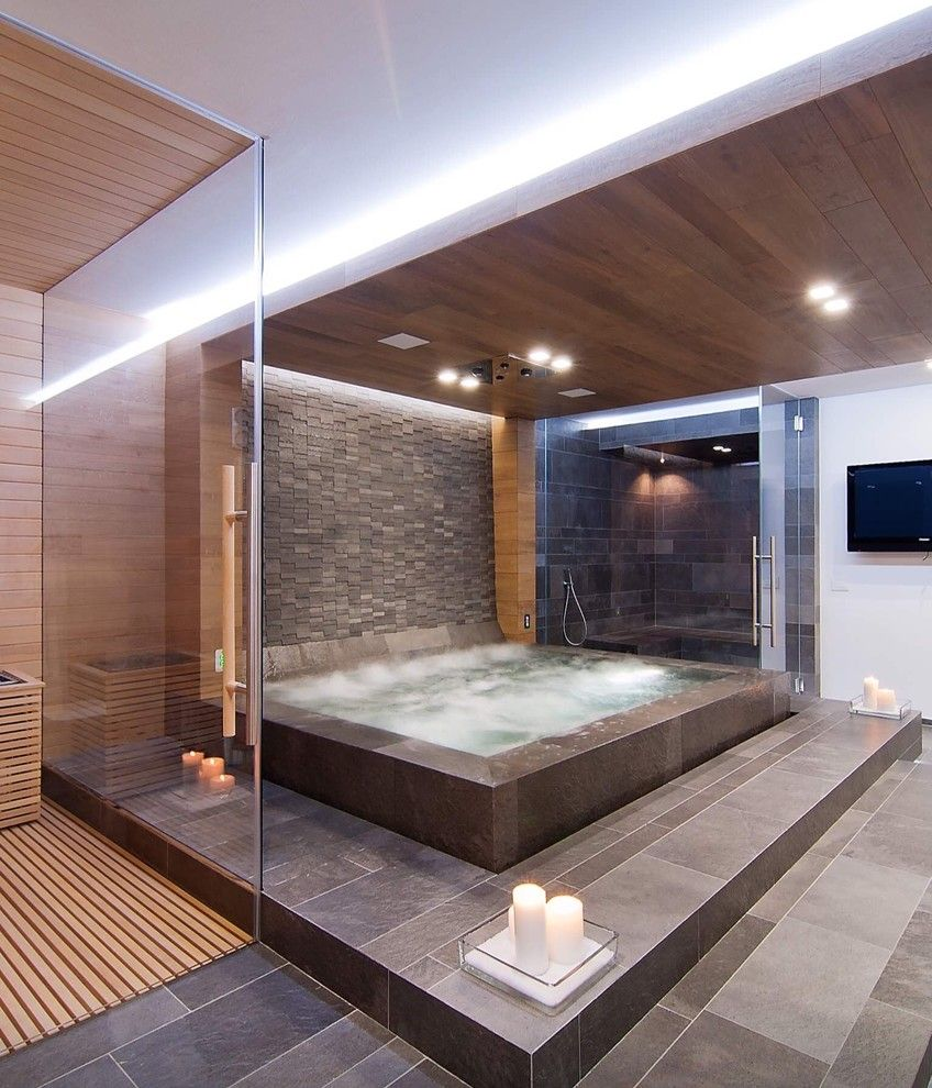 Hot Tubbing for a Contemporary Bathroom with a Jacuzzi and Style Example Bath S6 by Saviano Builders