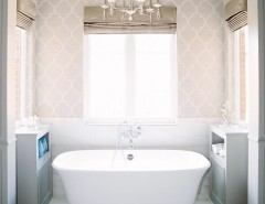 Hot Tubbing for a Traditional Bathroom with a Freestanding Tub and Budget Blinds by Budget Blinds