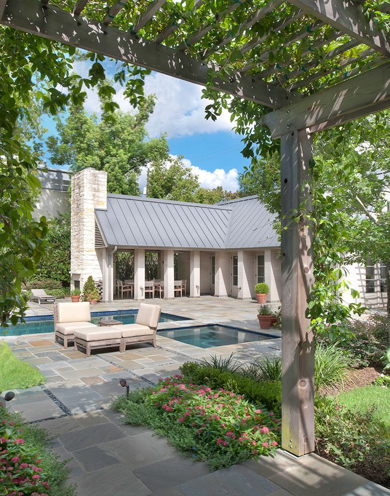 Hot Tubbing for a Traditional Patio with a Path and Houston Residence and Poolhouse by Wettling Architects
