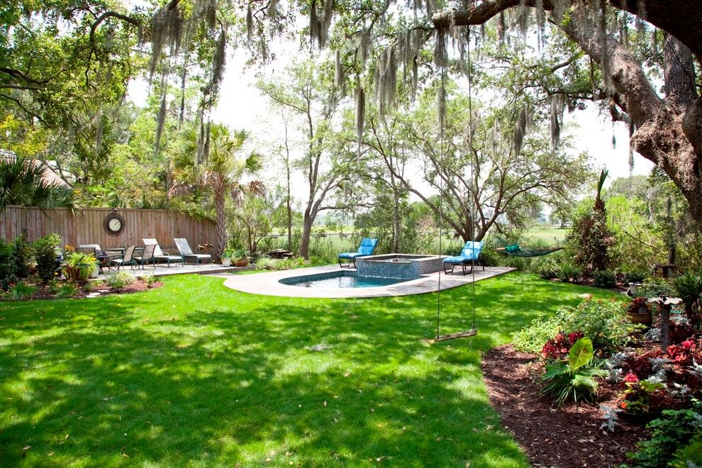 Hot Tubbing for a Traditional Pool with a Trees and Lowcountry Swimming Pool Renovation by Aquabluepools