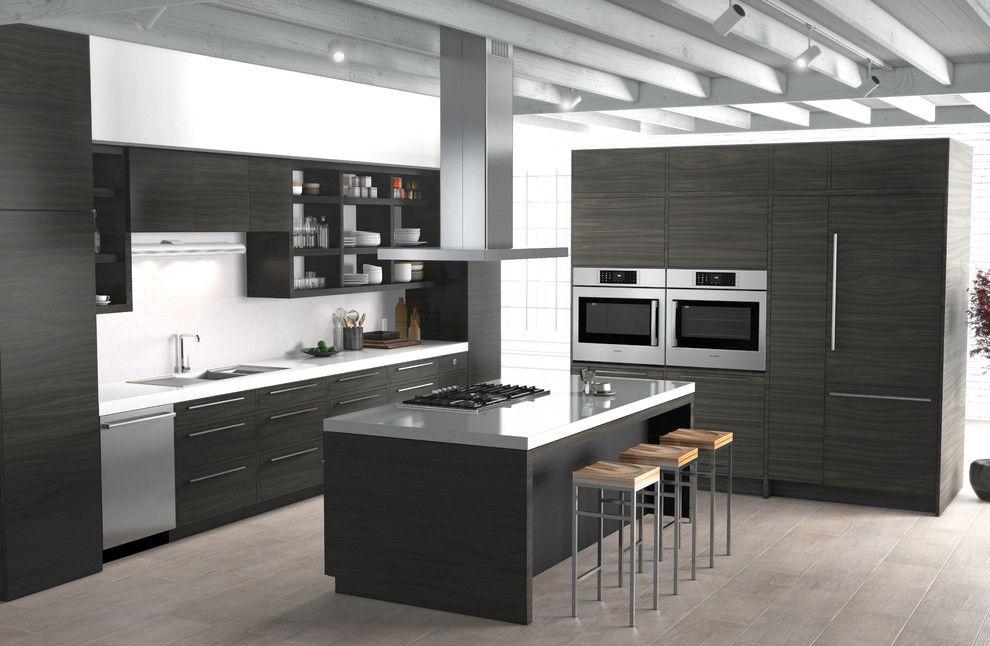 House Umber for a Contemporary Kitchen with a Island Range Hood and Bosch Home Appliances by Bosch Home Appliances