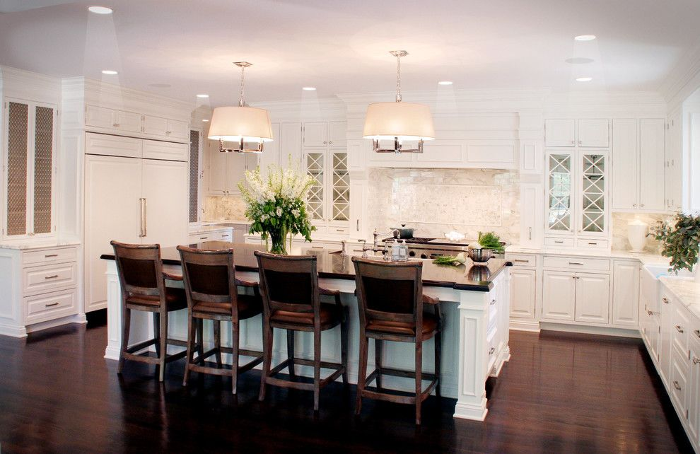 How Do Tankless Water Heaters Work for a Traditional Kitchen with a Dark Floor and Classic White Kitchen by House of L Interior Design