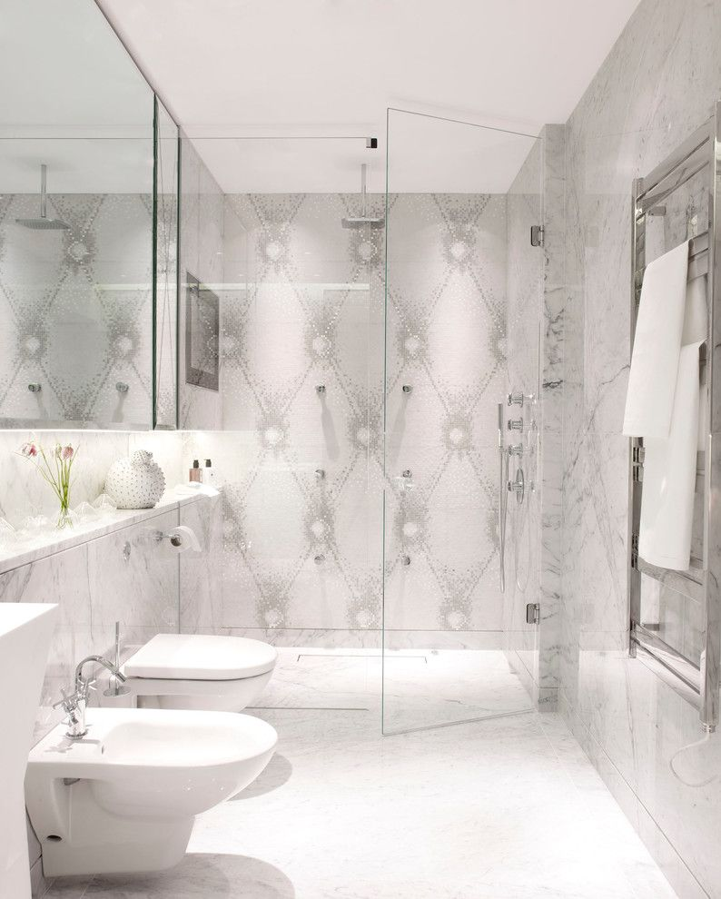 How Does a Bidet Work for a Contemporary Bathroom with a Gray Mosaic Wall and Mayfair Apartment Bathroom by Oliver Burns