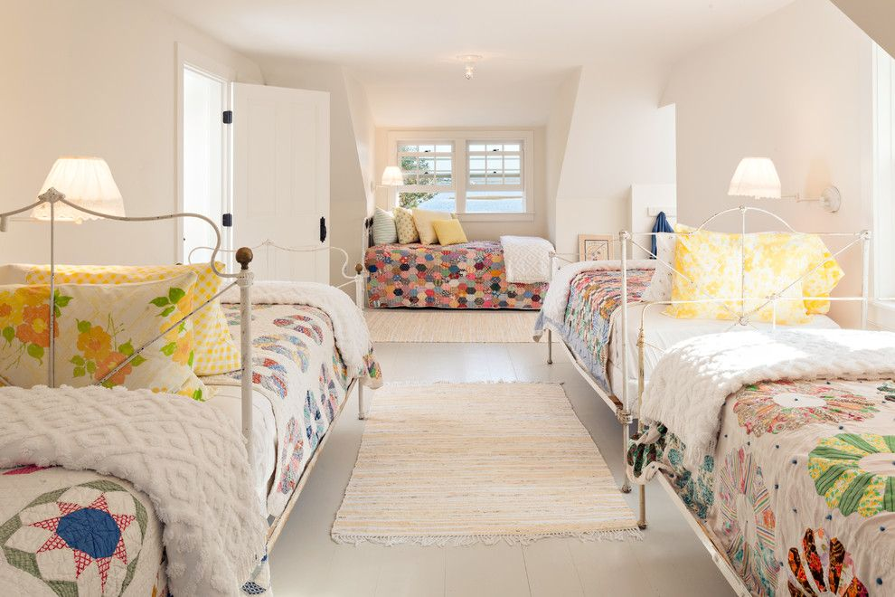 How Long is a Twin Xl Bed for a Beach Style Bedroom with a Bunk Room and Cape Cod Residence by Alys Design