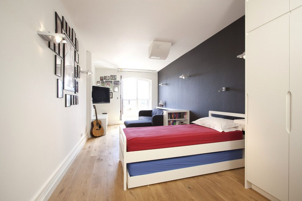 How Long is a Twin Xl Bed for a Contemporary Kids with a Blue Bedroom and Wapping E1w: Stylish Wharf Flat by Increation