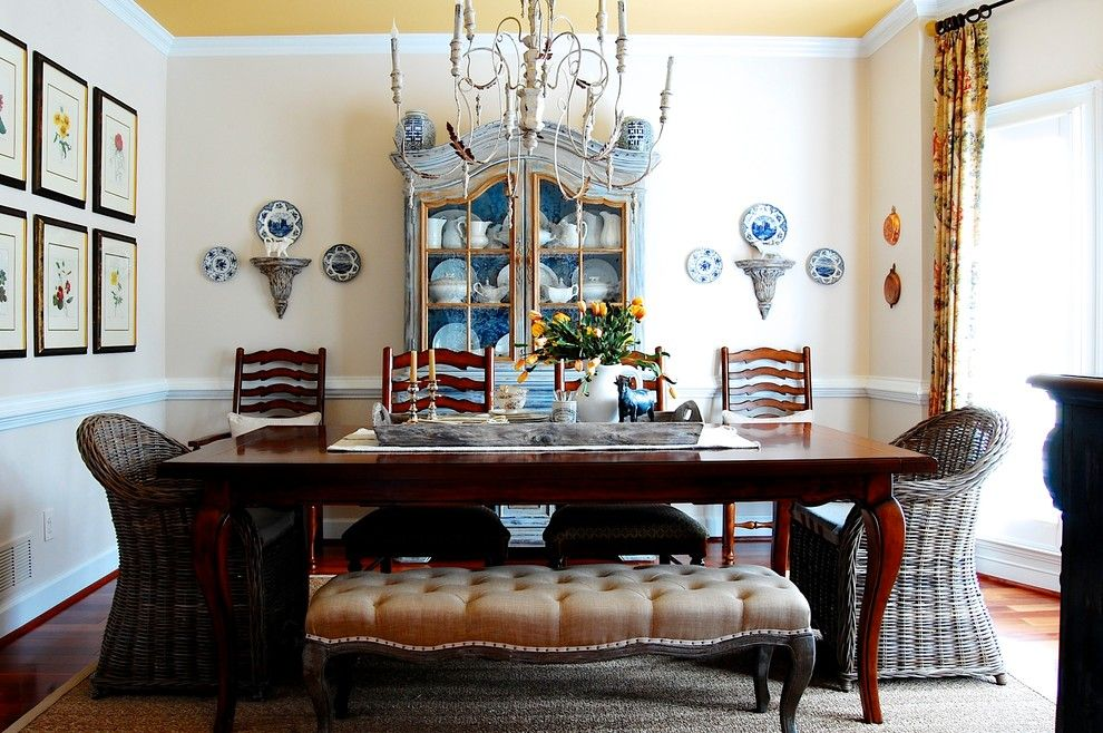 How Much Does It Cost to Reupholster a Chair for a Farmhouse Dining Room with a Vintage and My Houzz: French Country Meets Southern Farmhouse Style in Georgia by Corynne Pless