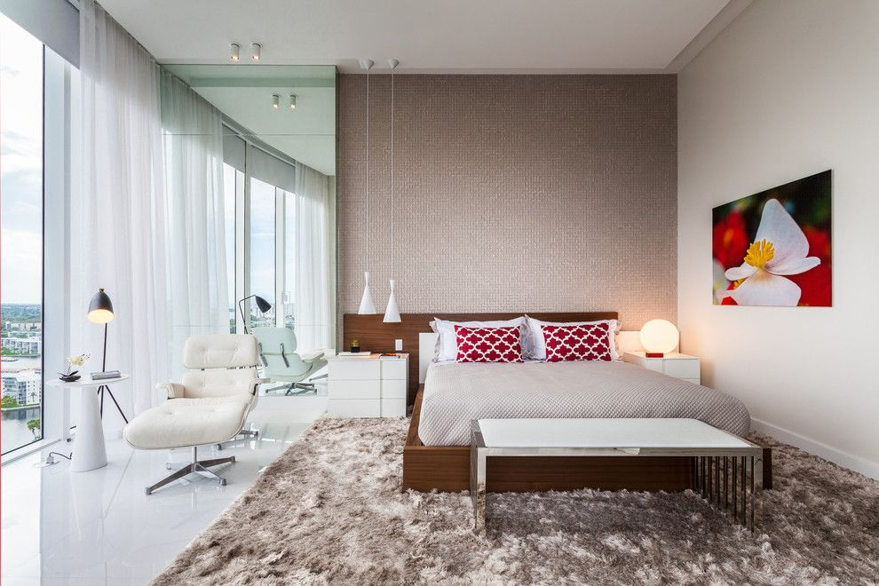 How to Clean a Shag Rug for a Contemporary Bedroom with a Sheer White Curtains and Bellini | Williams Island | Aventura by Guimar Urbina | Kis Interior Design
