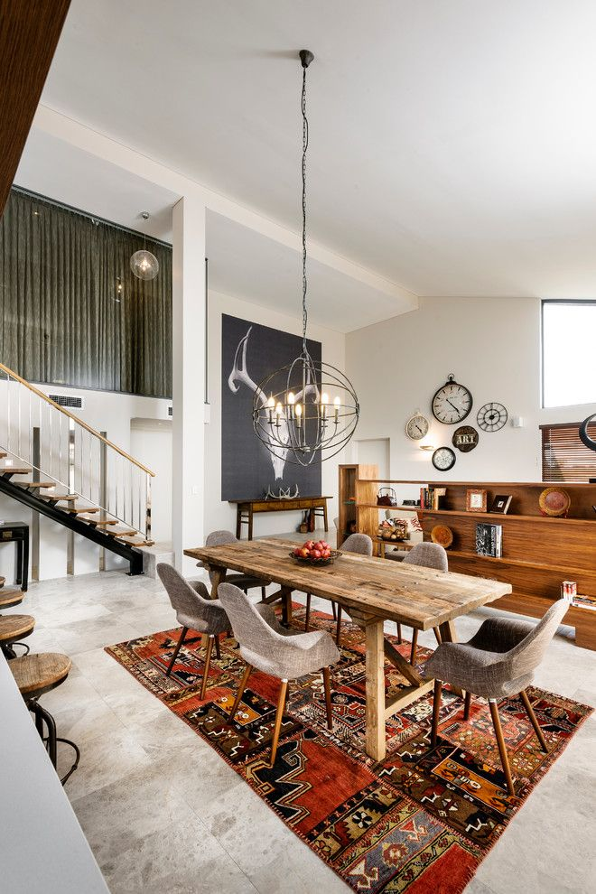 How to Clean a Shag Rug for a Contemporary Dining Room with a Floating Stairs and the Bletchley Loft by Jodie Cooper Design