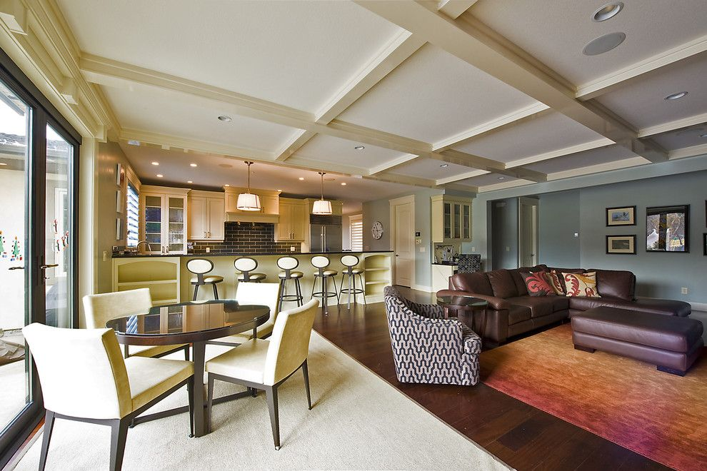 How to Clean a Shag Rug for a Contemporary Family Room with a Blue Walls and Family Room by Begrand Fast Design Inc.