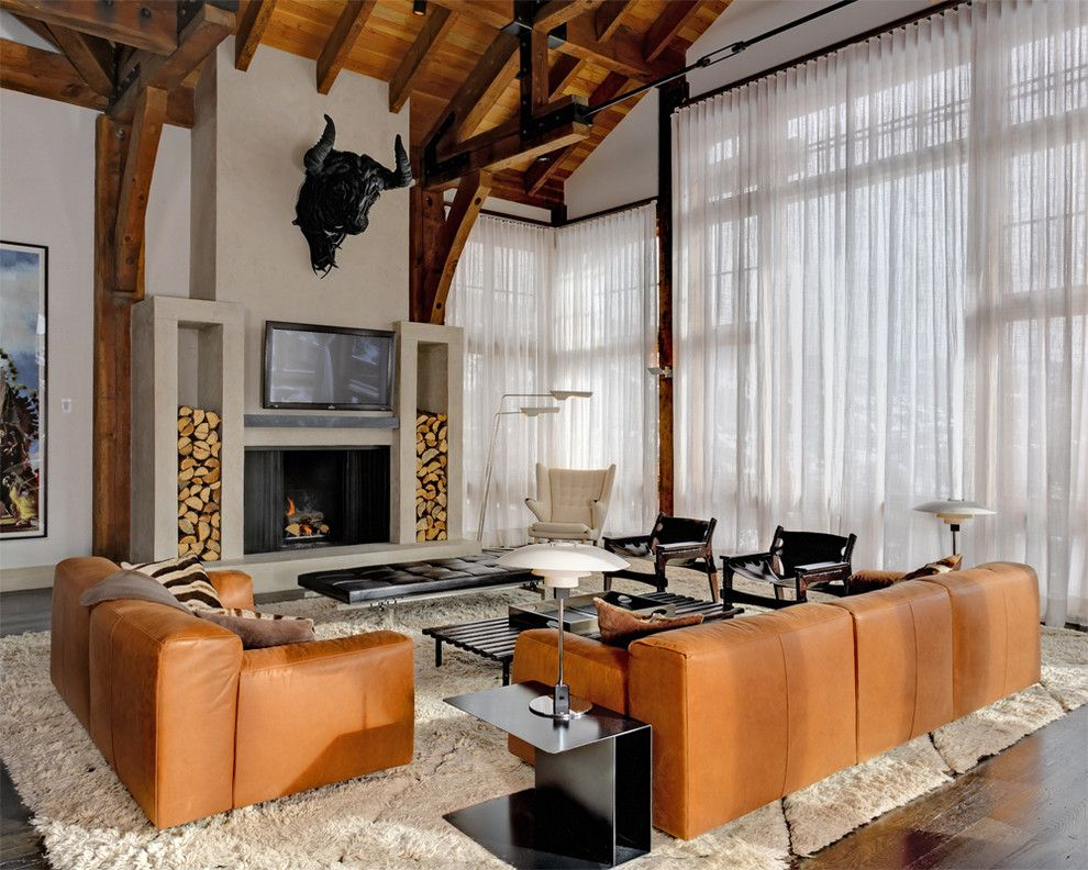 How to Clean a Shag Rug for a Rustic Family Room with a Sheer Curtain and Family Space by D'apostrophe Design, Inc.