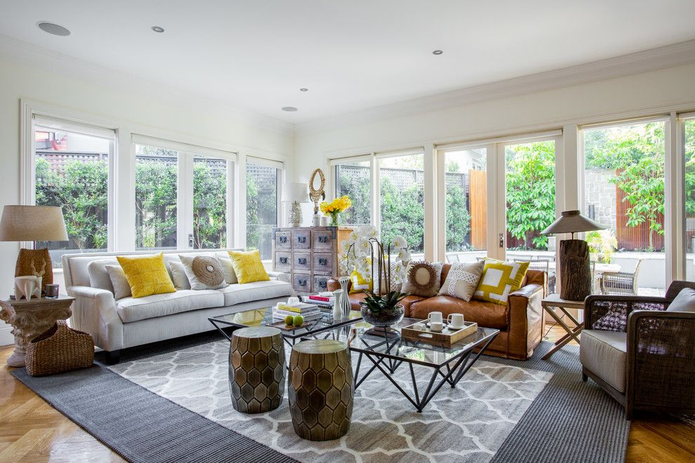 How to Clean Couch Cushions for a Beach Style Living Room with a Natural Light and Canterbury House by Alexander Pollock Interiors