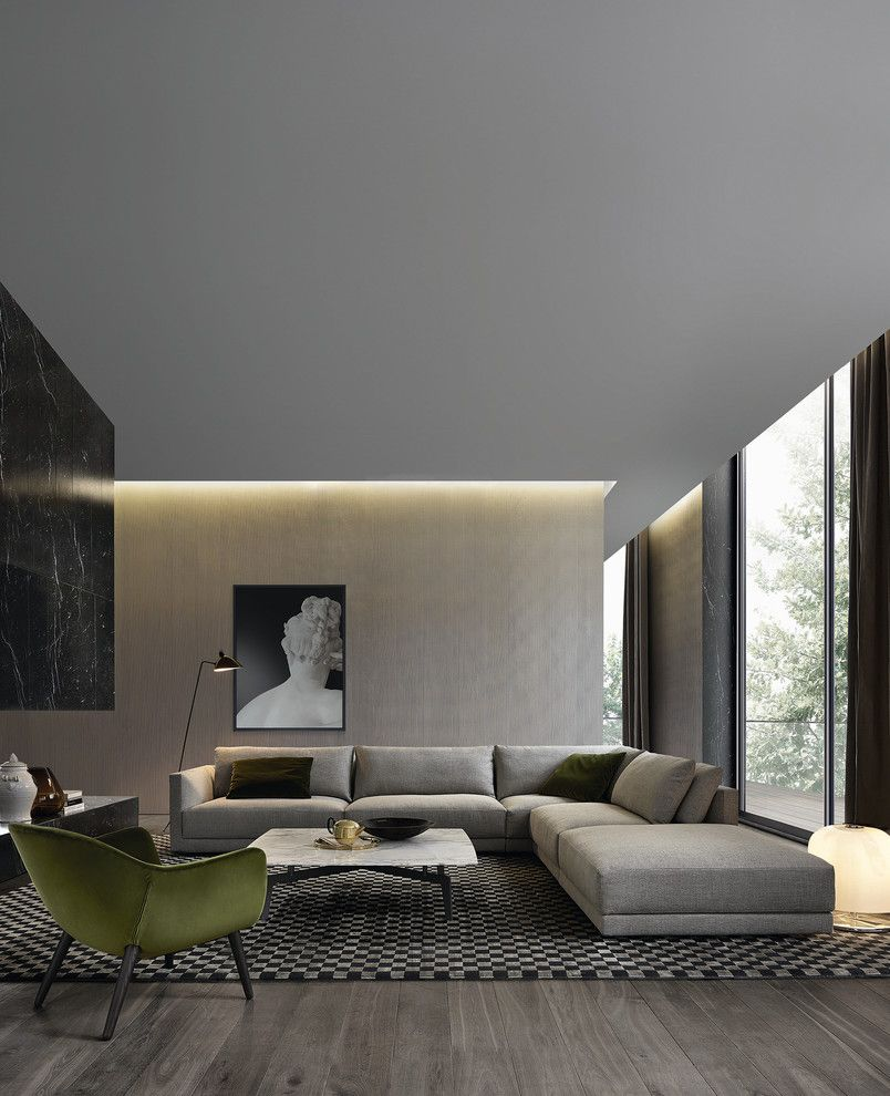 How to Clean Couch Cushions for a Contemporary Living Room with a Contemporary Floor Lamp and Poliform by Poliform Australia