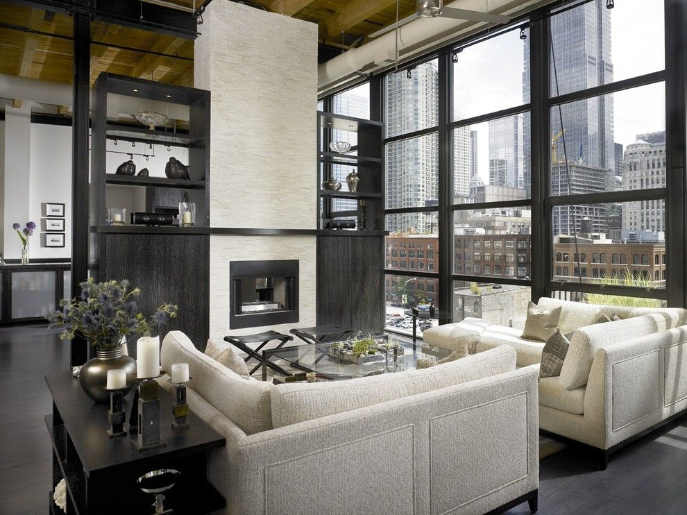 How to Clean Couch Cushions for a Industrial Living Room with a Dark Floor and Jamesthomas, Llc by Jamesthomas Interiors
