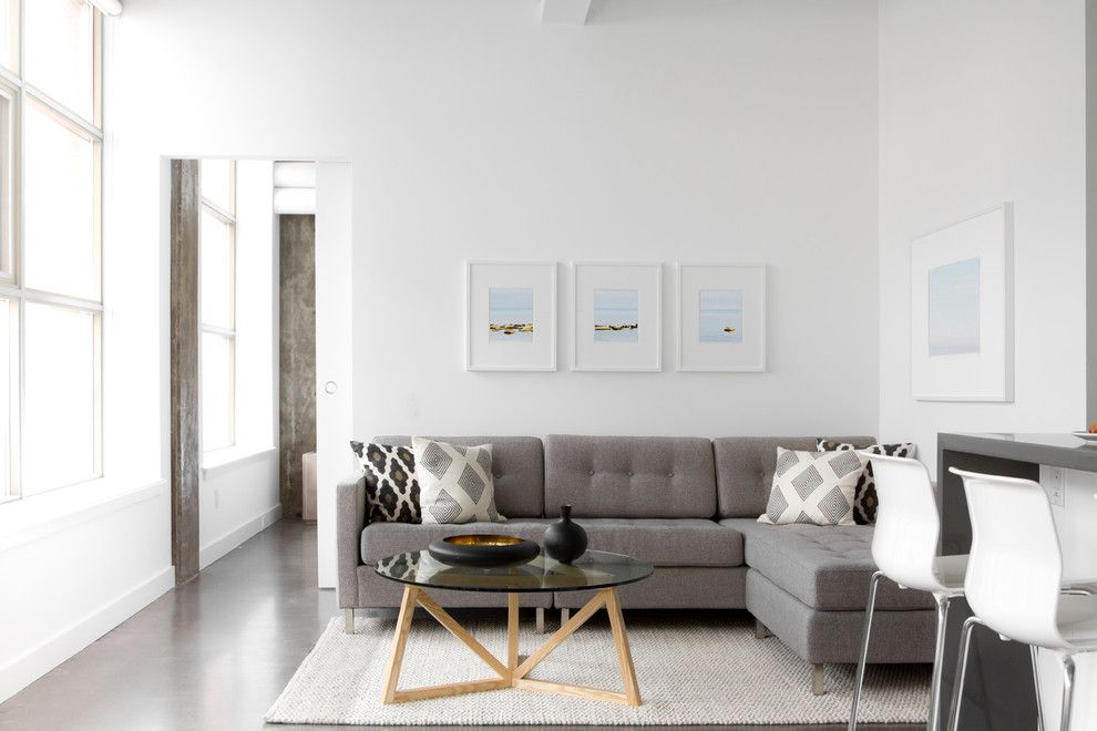 How to Clean Couch Cushions for a Modern Living Room with a Loft and Camden Lofts Residence by Croma Design Inc