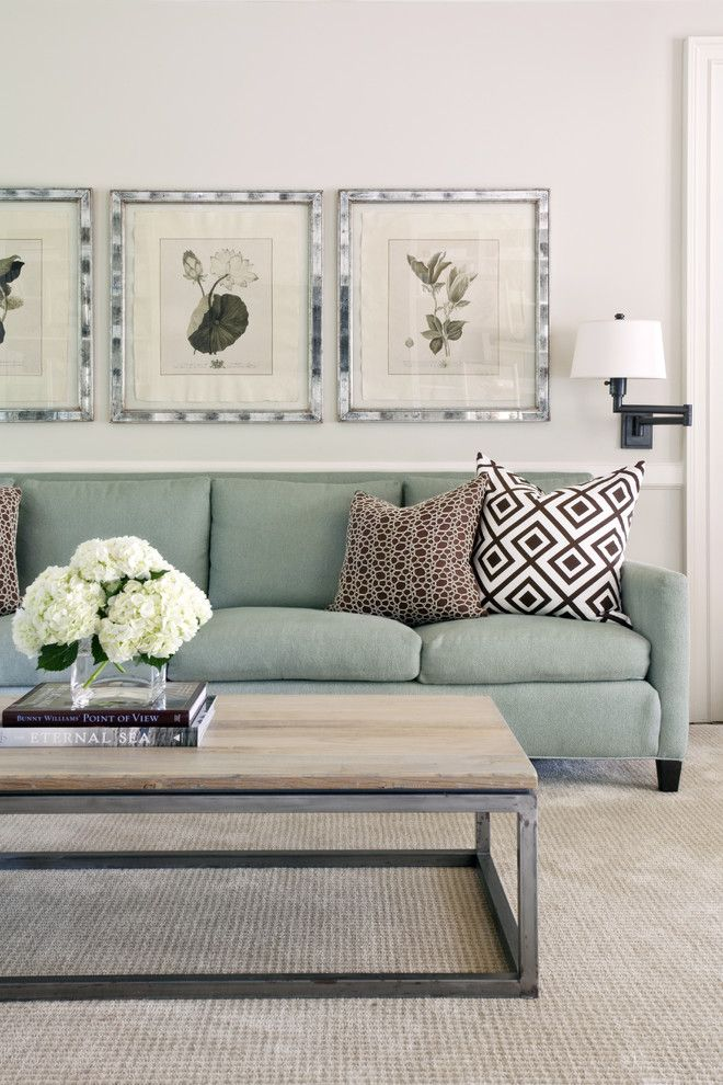 How to Clean Couch Cushions for a Transitional Family Room with a Wall Decor and Pleasant Valley by Tobi Fairley Interior Design