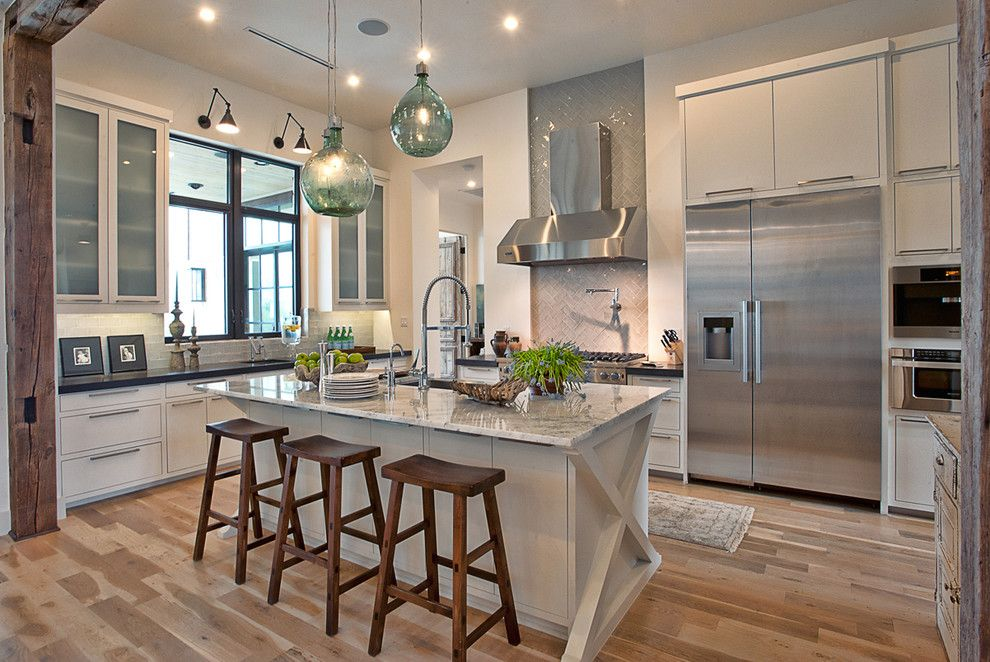 How to Clean Glass Cooktop for a Contemporary Kitchen with a Sea Glass Lighting and Cat Mountain by Bryant Hill Media