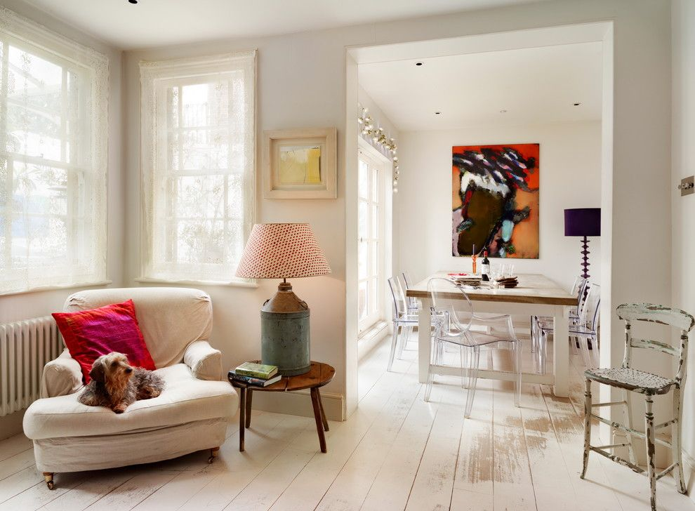 How to Clean Pergo Floors for a Shabby Chic Style Dining Room with a Spotted Lampshade and Coach House in Richmond, West London by Zazudesigns