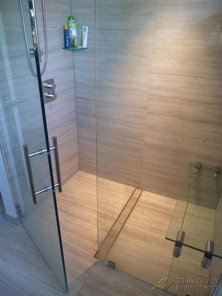 How to Clear a Clogged Drain for a Contemporary Bathroom with a Schluter Kerdi and Barrier Free / Curbless Rain-Shower - Coquittlam by 3D-Tile-Design - Bertram Tasch