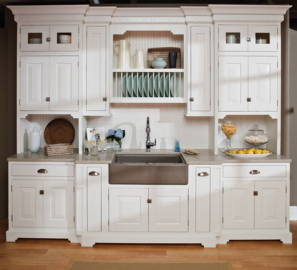 How to Dry Hydrangeas for a Beach Style Kitchen with a Wood Dish Rack and Small Beach House Kitchen by Dura Supreme Cabinetry