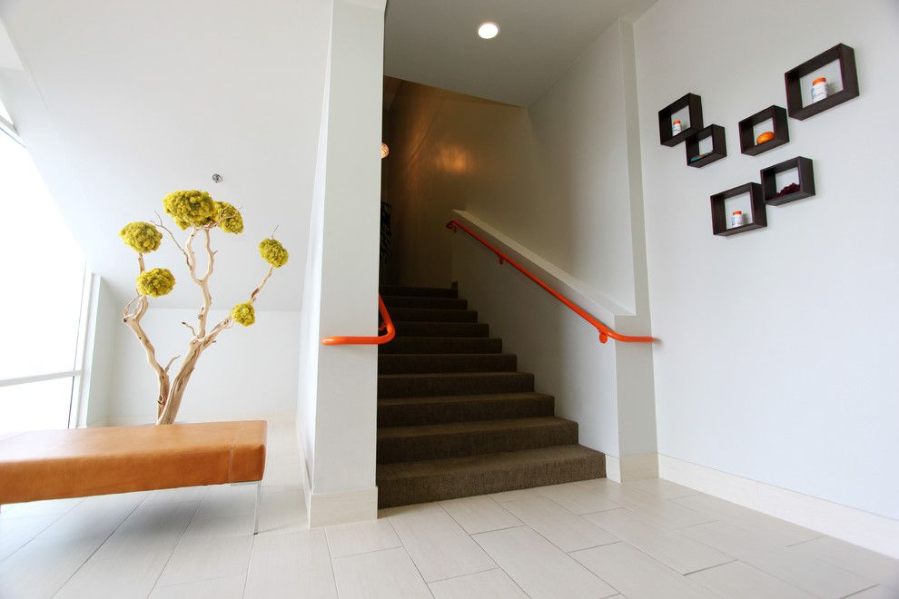 How to Dry Hydrangeas for a Contemporary Entry with a Orange Handrail and Stiles Fischer Recent Projects by Nate Fischer Interiors