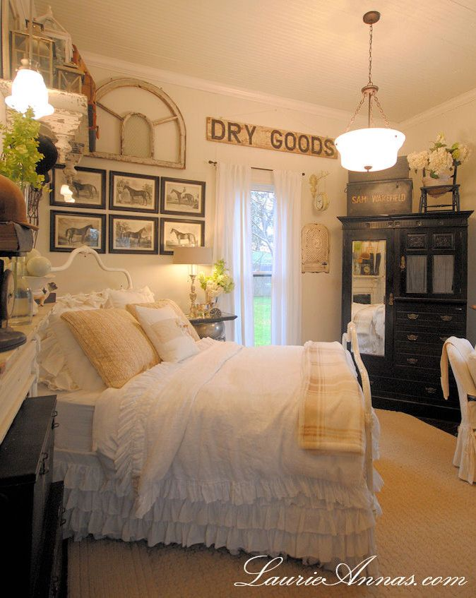 How to Dry Hydrangeas for a Farmhouse Bedroom with a Farmhouse and Farmhouse Bedroom by Laurieanna's Vintage Home
