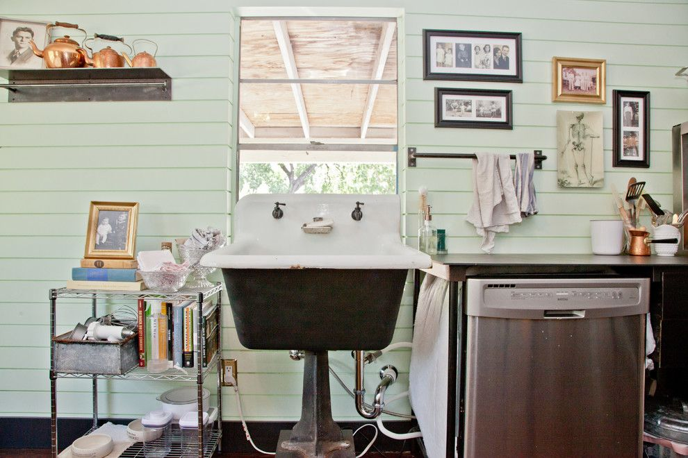 How to Fix a Clogged Sink for a Shabby Chic Style Kitchen with a Open Shelves and My Houzz: Nick + Stephanie, Austin by Sarah Natsumi Moore