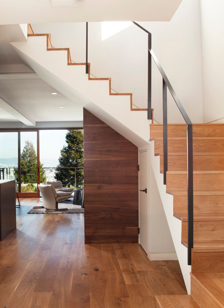 How to Fix a Hole in Drywall for a Contemporary Staircase with a Wood Tread and Quantum Windows & Doors | Mcelroy Architecture by Quantum Windows & Doors