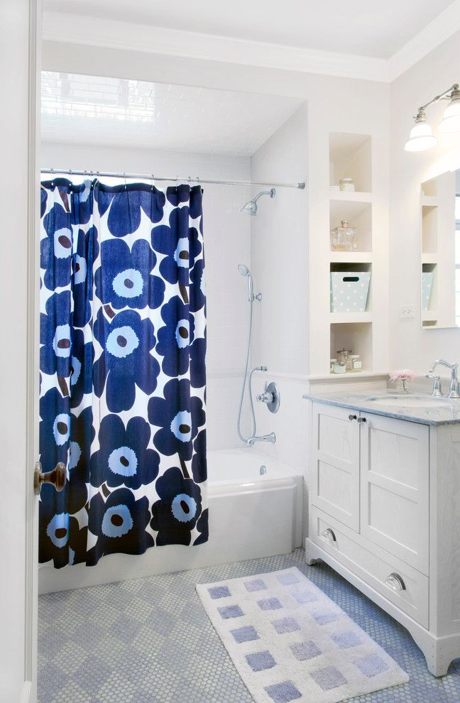 How to Fix a Hole in Drywall for a Traditional Bathroom with a Cool Colors and Not-So-Grey Greystone by Randall Architects