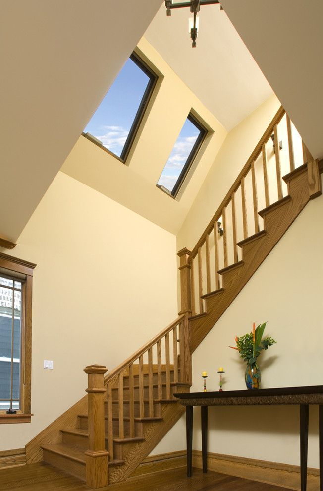 How to Fix a Hole in Drywall for a Traditional Staircase with a Wood Banister and Oakley Ave. Residence Interior Stairs by Northlight Architects Llc