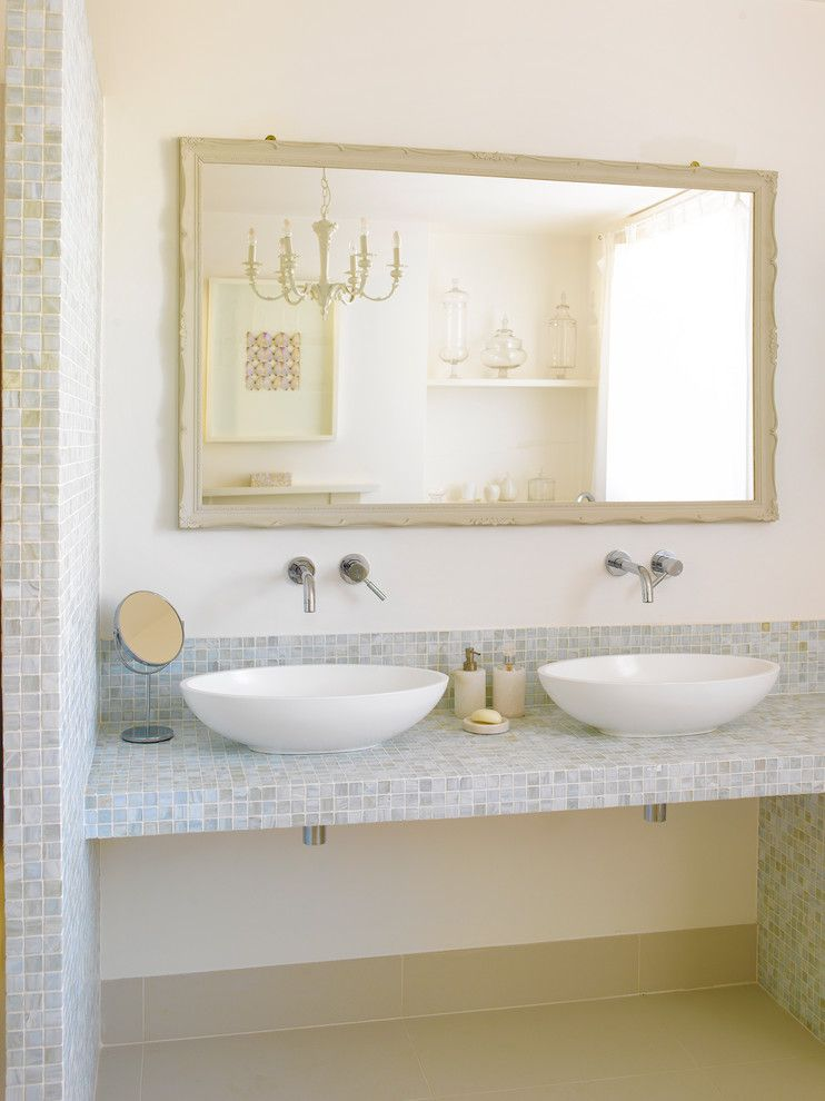 How to Fix a Hole in Drywall for a Transitional Bathroom with a White Chandelier and Fairlawn Grove by Zulufish