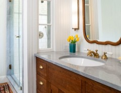 How to Fix Hole in Drywall for a Farmhouse Bathroom with a Framed Mirror and Canyon Oak by JWT Associates