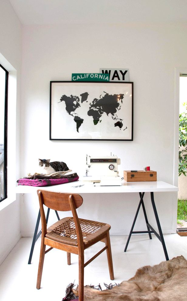 How to Get Rid of Cat Spray Smell for a Contemporary Home Office with a Map and Jette Creative Office by Jette Creative