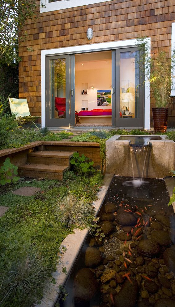 How to Get Rid of Cat Spray Smell for a Contemporary Patio with a Waterfall and Montcalm Street by Rossington Architecture