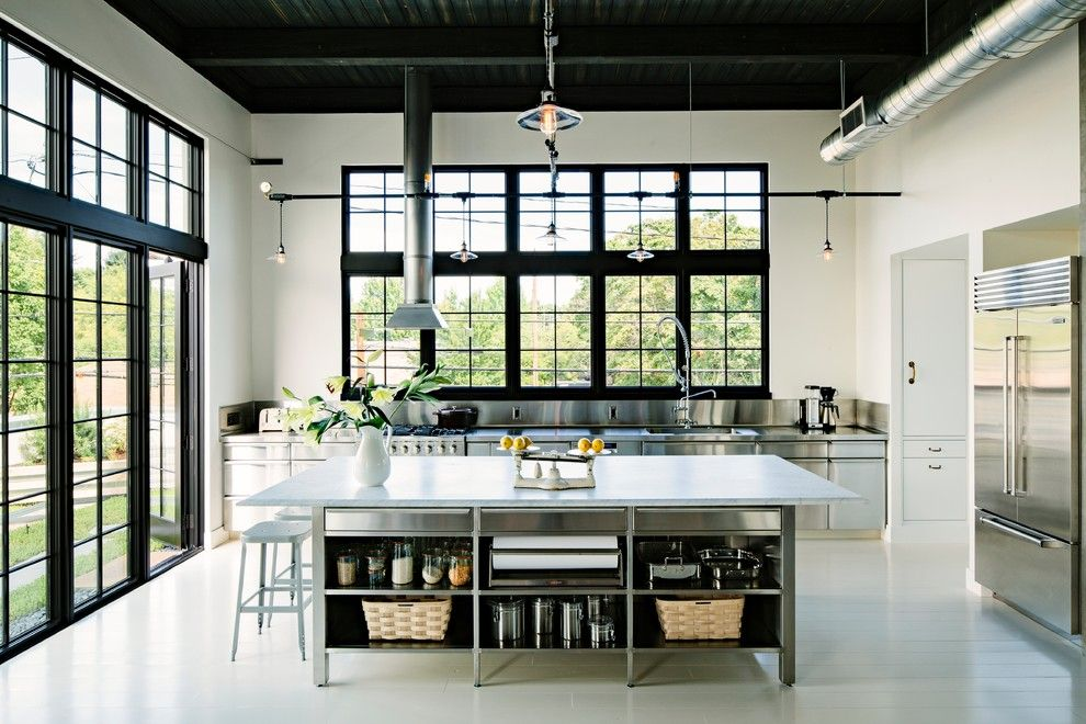 How to Get Rid of Cat Spray Smell for a Industrial Kitchen with a Black Ceiling and Division Street by Emerick Architects