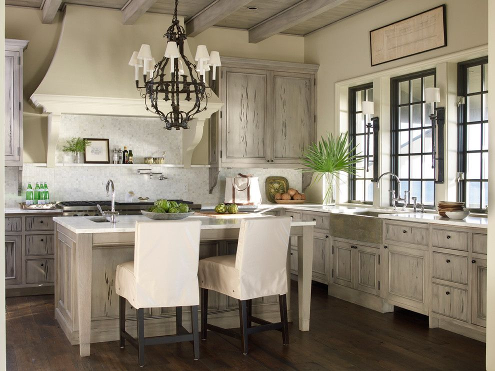 How to Get Rid of Popcorn Ceiling for a Beach Style Kitchen with a Wood Ceiling and Beachfront Light by Mcalpine Booth & Ferrier Interiors    Atlanta