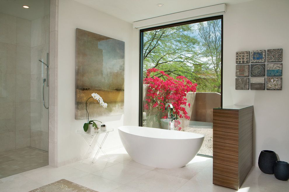 How to Get Rid of Popcorn Ceiling for a Contemporary Bathroom with a Bright and Calm Contemporary by Janet Brooks Design